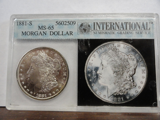 INGS GRADED MS65 1881-S MORGAN SILVER DOLLAR
