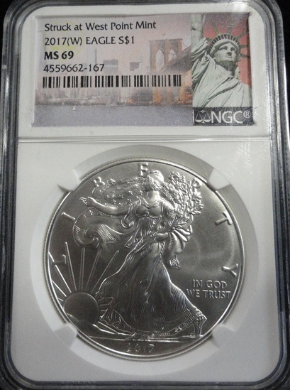 NGC GRADED MS69 2017-W SILVER EAGLE COIN
