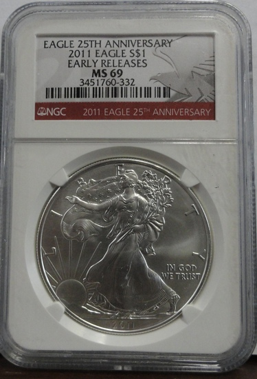 25TH ANNIVERSARY NGC GRADED MS69 2011 SILVER EAGLE COIN