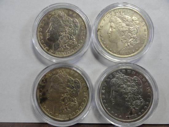(4) MORGAN SILVER DOLLARS: 1881-O, 1882-S, 1883-O, 1884-O