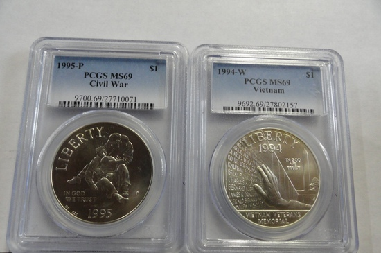 (2) PCGS GRADED MS69 SILVER DOLLARS
