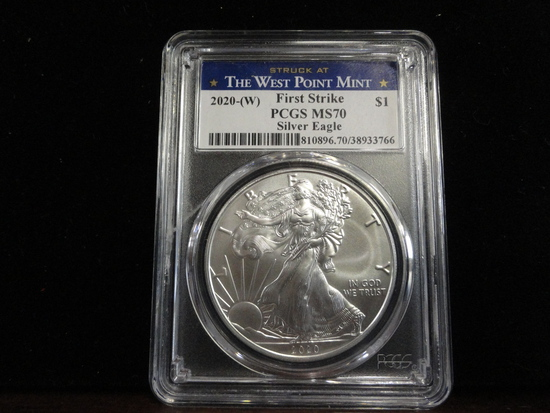 PCGS GRADED MS70 2020-W SILVER EAGLE COIN