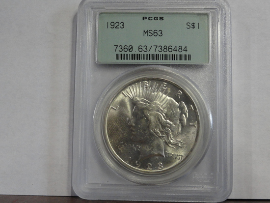 PCGS GRADED MS63 1923 PEACE SILVER DOLLAR