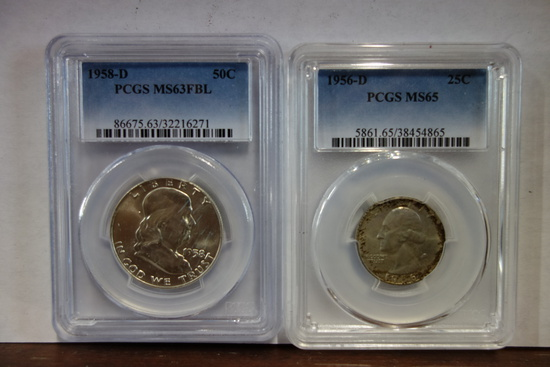PCGS GRADED 1958-D FRANKLIN HALF; PCGS GRADED MS65 1956-D WASHINGTON QUARTER