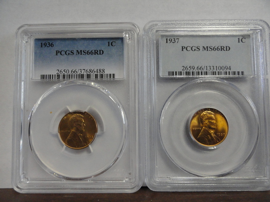 (2) PCGS GRADED MS66 RD LINCOLN CENTS, 1936 & 1937
