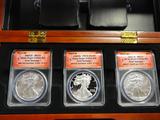 BOXED SET OF ANACS GRADED THREE COIN SET 2014 SILVER EAGLE