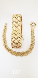 2 14K GOLD BRACELETS: ONE BRAIDED GOLD AND ONE LINKS(33G)