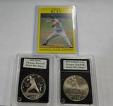 (2) 1992 NOLAN RYAN OLYMPIC BASEBALL  SILVER DOLLARS, & '91 NOLAN RYAN CARD
