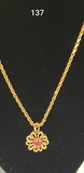 VINTAGE 14K YELLOW GOLD & SYNTHETIC RUBY PENDANT: