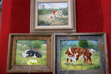 (3) SMALL FRAMED BETTY ROSE (MIDLAND ARTIST) ORIGINAL OIL ON CANVAS  PAINTINGS