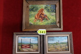 3 SMALL FRAMED BETTY ROSE (MIDLAND ARTIST) OIL ON CANVAS PAINTINGS