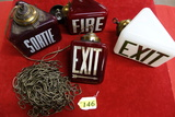 (4) VINTAGE GLASS EXIT AND FIRE GLOBES,