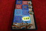 6 KEN EDWARDS PAINTED POTTERY DRAWER PULLS  8 GREEK PAINTED TILES