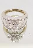 18KT WHITE GOLD THREE STONE (1.82 CTW) DIAMOND RING