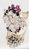DIAMOND, SAPPHIRE, RUBY 14KT WHITE GOLD CLUSTER RING