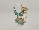 14KT YELLOW GOLD, OPAL, EMERALD AND DIAMOND RING: