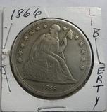 1866 SEATED LIBERTYSILVER DOLLAR