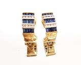 CONTEMPORARY PAIR OF 14K YELLOW GOLD, SAPPHIRE & DIAMOND EARRINGS