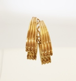 CONTEMPORARY PAIR OF 14K YELLOW GOLD FLUTED HOOP EARRINGS