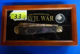 150TH ANNIVERSARY OF THE CIVIL WAR ROUGH RIDER LARGE FOLDING KNIFE & CIVIL WAR BULLET