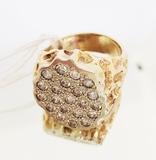 CONTEMPORARY 14K YELLOW GOLD & DIAMOND GENTS RING