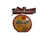 BUDWEISER & SHINER BOCK METAL SIGNS