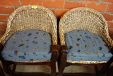 4 WOVEN BACK BARSTOOLS WITH OAK BASES AND CUSHIONS