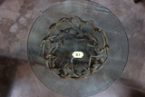 GLASS TOP ANTLER BASE ROUND COFFEE TABLE