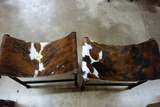 2 BARBOGLIO IRON STOOLS WITH LONGHORN SEATS
