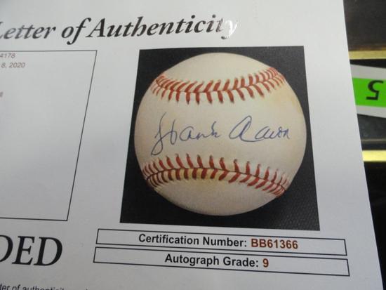 JSA GRADED HANK AARON SIGNED BASEBALL,