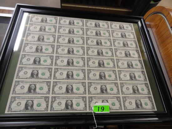 FRAMED UNCUT SHEET OF (32) 2009 ONE DOLLAR NOTES