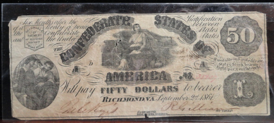 CONFEDERATE STATES OF AMERICA 1861 50 DOLLAR NOTE. AG.