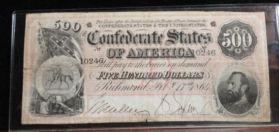 CONFEDERATE STATES OF AMERICA 1864 500 DOLLAR NOTE