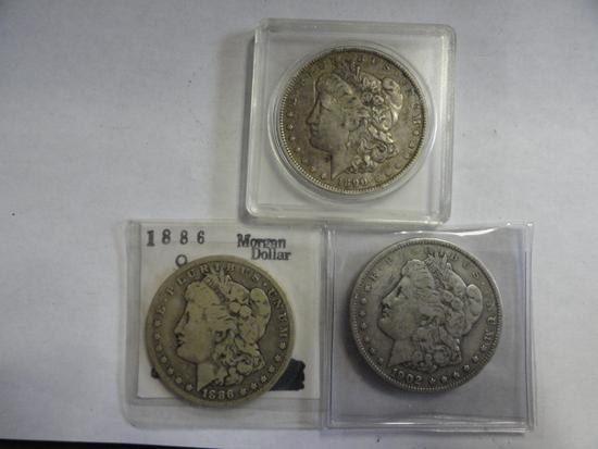 (3) MORGAN SILVER DOLLARS: 1886-O, 1890-O, 1902