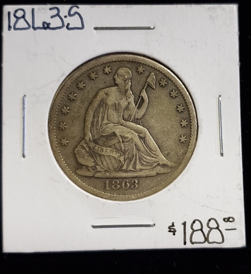 1863-S SEATED LIBERTY HALF DOLLAR COIN