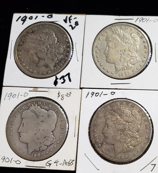 (4) 1901-O MORGAN SILVER DOLLARS