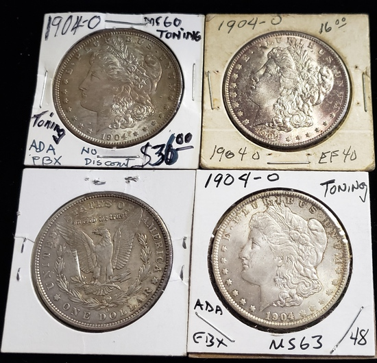 (4) 1904-O MORGAN SILVER DOLLARS