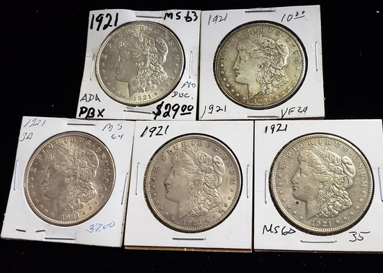 (5) 1921 MORGAN SILVER DOLLARS