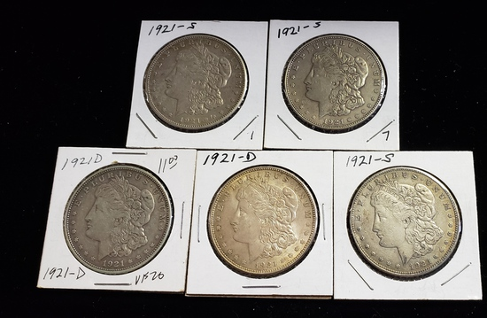 (5) 1921 MORGAN SILVER DOLLARS: