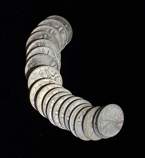 ROLL OF 20 WALKING LIBERTY SILVER HALVES: