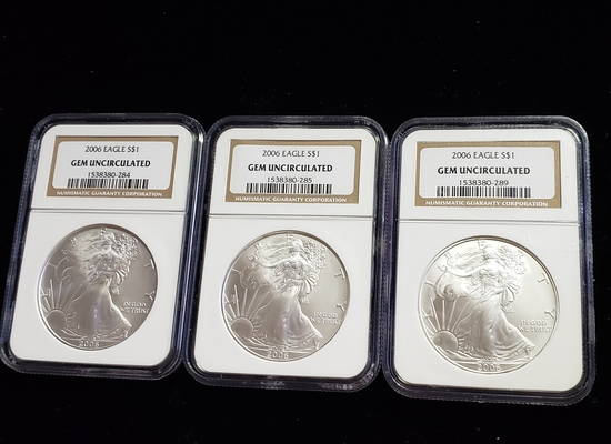 (3) NGC CERTIFIED GEM UNCIRCULATED 2006 SILVER EAGLE COINS