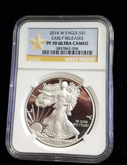 NGC GRADED PF70 ULTRA CAMEO EARLY RELEASES 2014-W SILVER EAGLE