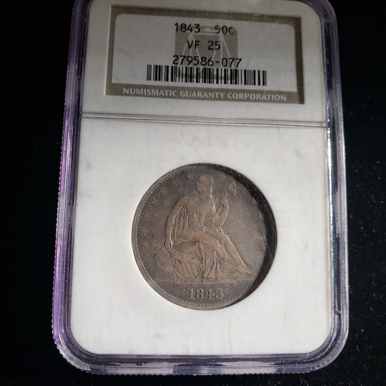 NGC GRADED VF-25 1843 SEATED LIBERTY HALF DOLLAR COIN