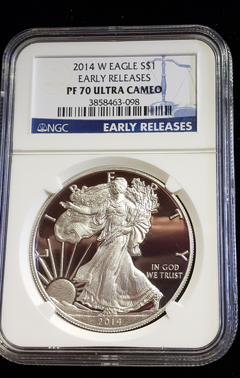 NGC GRADED PROOF 70 ULTRA CAMEO 2014 W SILVER EAGLE