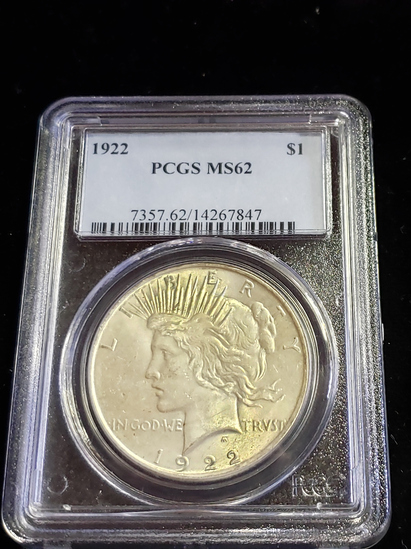 PCGS GRADED MS62 1922 PEACE SILVER DOLLAR