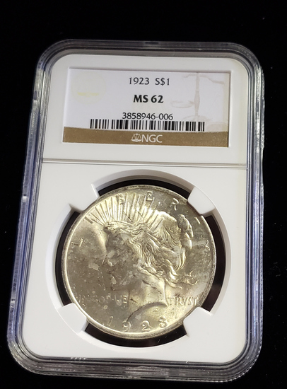 NGC GRADED MS62 1923 PEACE SILVER DOLLAR