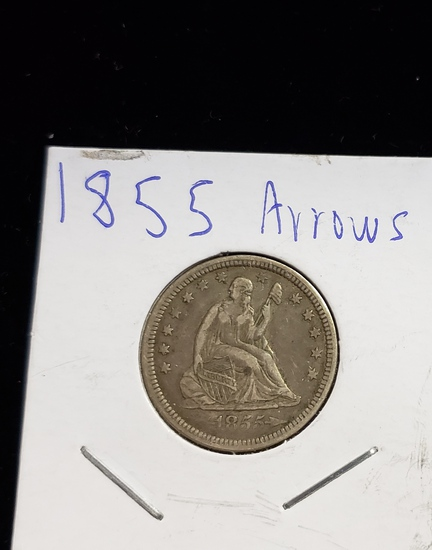 1855 ARROWS SEATED LIBERTY 25¢ COIN