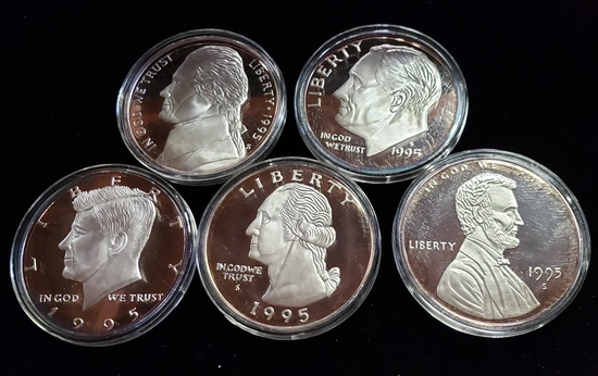 (5) 1995 ONE HALF POUND PURE SILVER ROUNDS: