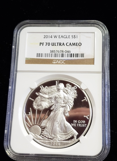 NGC GRADED PF70 ULTRA CAMEO 2014-W SILVER EAGLE