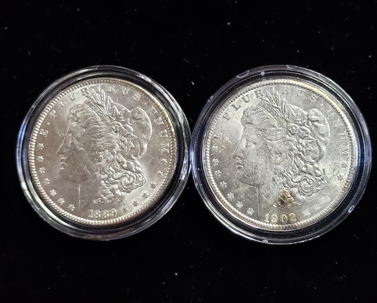 (2) BU MORGAN SILVER DOLLARS: 1889 & 1902-O